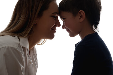 Fototapeta Family care. Parents support. Empathy love. Close relationship. Friendship encouragement. Happy mother with son touching foreheads looking each other isolated on white side view.