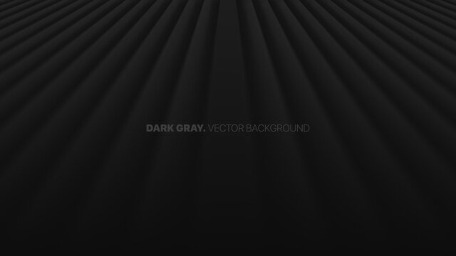 Fading Perspective Smooth Straight Lines In A Row 3D Vector Blurred Effect Dark Gray Abstract Background. Rendered Wall. Minimalistic Black Empty Space Abstract Wallpaper