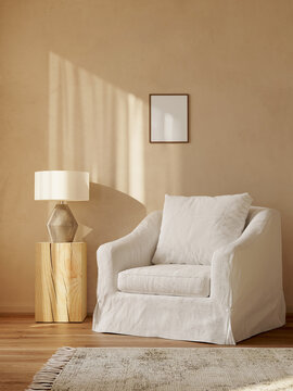 3d rendering of a minimal mediterranean relaxed space with earthy tones and a white linen upholstered Slipcover armchair