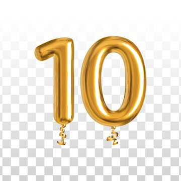Vector realistic isolated golden balloon number of 10 for invitation decoration on the transparent background.