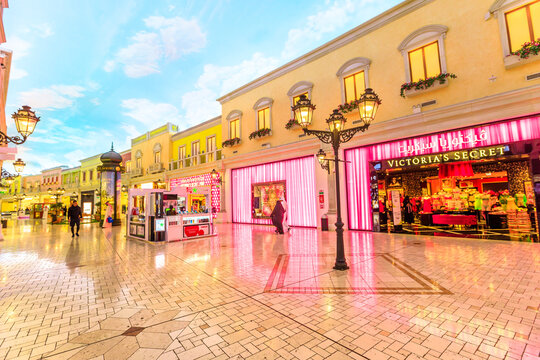 Doha, Qatar - February 21, 2019: Victoria's Secret shop inside Villaggio Mall, a shopping center in Aspire Zone Sports City. Luxury brands, expensive stores and exclusive shops in Doha shopping mall.