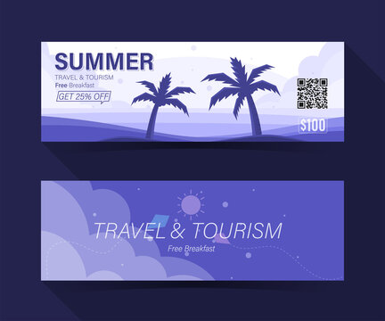 Summer travel and tourism. the beach with palm coupon ticket card. element template for graphics design. Vector illustration
