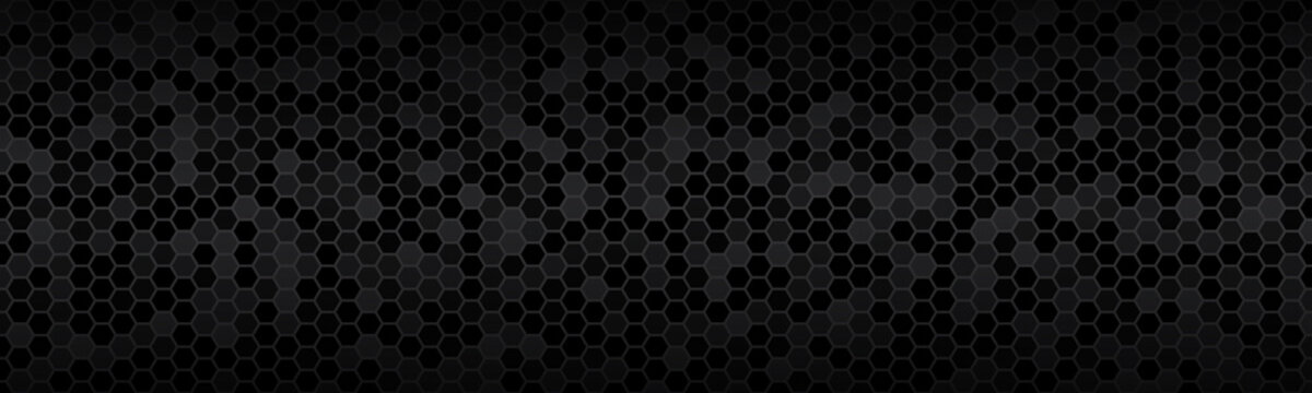 Dark widescreen header with hexagons with different transparencies. Modern black geometric design banner. Simple vector illustration background