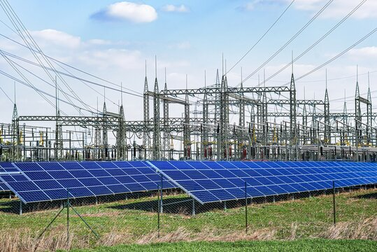Solar panels with electric pole