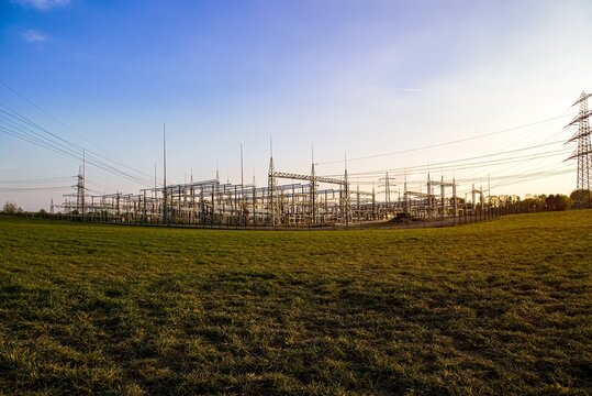 power plant ,high voltage poles .