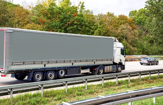 Truck on the roads of Europe  . dirty truck trailer . Logistics and delivery of cargo