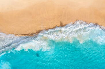 Coast as a background from top view. Turquoise water background from top view. Summer seascape from air. Nusa Penida island, Indonesia. Travel and vacation image.