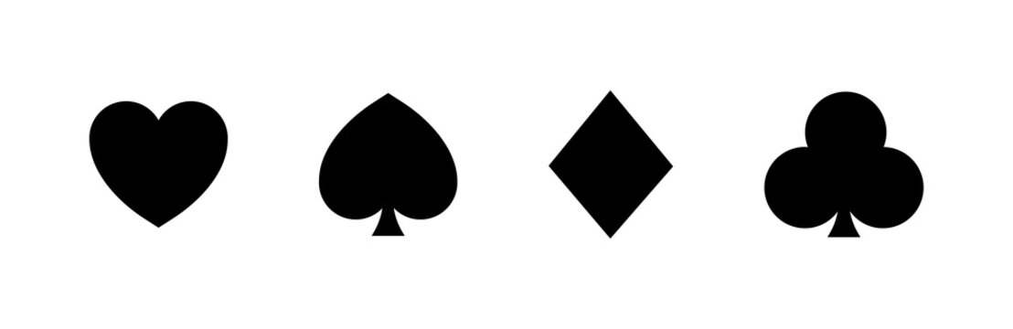 Playing card suits vector set. Spades Hearts Diamonds and Clubs icons isolated on white background. Card deck. Gamble game concept logo. Poker kards. Vector graphic.
