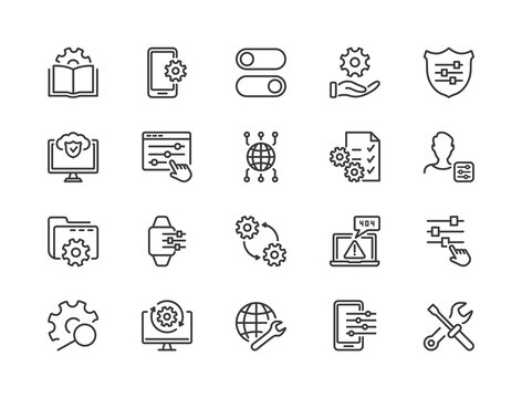 Simple Set of Setup, Repair and Settings. Gear, Screwdriver and Wrench line icons. Tech Support, Settings and Options related Vector line icons set. Editable Stroke. Vector illustration