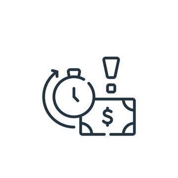 late payment icon. Thin linear late payment outline icon isolated on white background. Line vector late payment sign, symbol for web and mobile.
