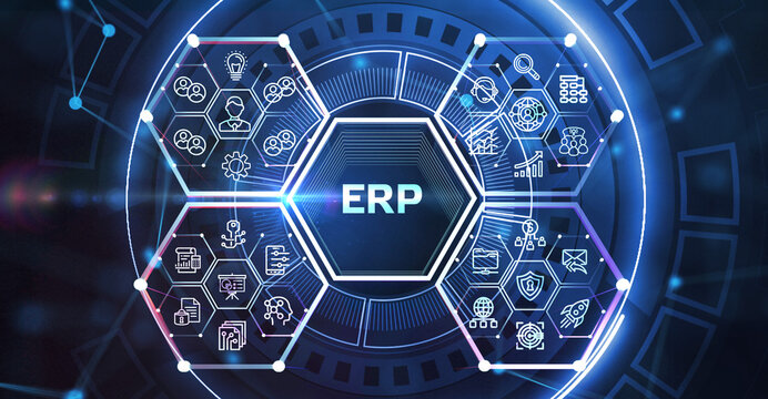 Business, Technology, Internet and network concept. Enterprise resource planning ERP concept.