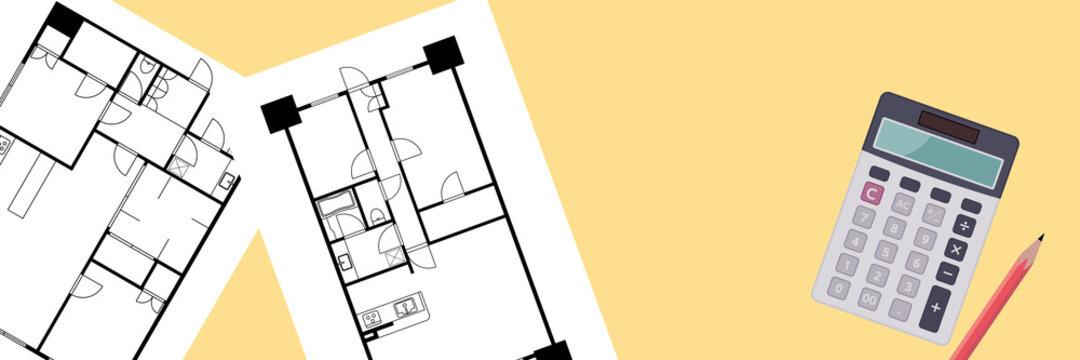 マンションの間取り図の図面と電卓のイラスト見取り図 マイホーム購入検討賃貸住宅