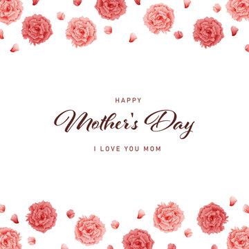 母の日 水彩 カーネーション フレーム 正方形/ Watercolor Carnation Frame for Mother's Day - Square - Vector Image