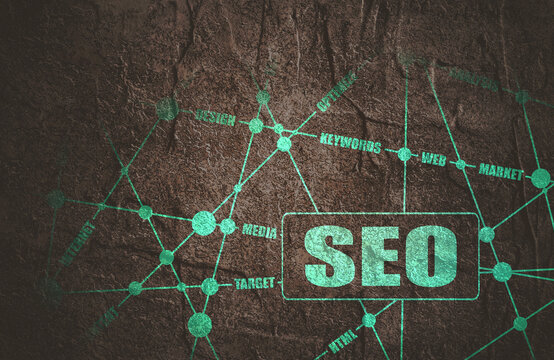 SEO word cloud business concept. Stone material grunge texture