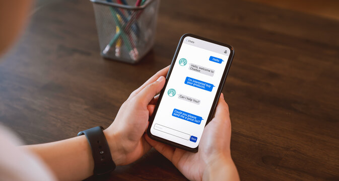 Digital chatbot and sent to recipient on mobile, hand using smartphone, Artificial intelligence, innovation and technology.