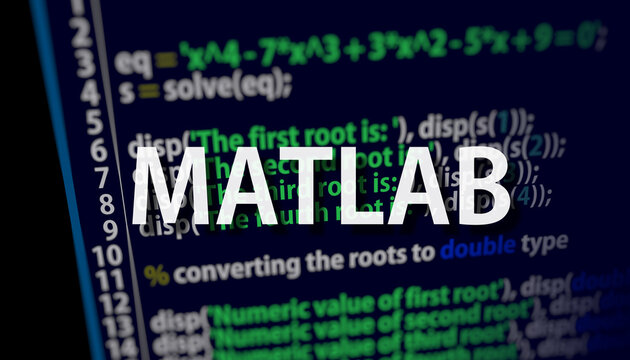 Matlab code on dark background in code editor and word Matlab. Matlab programing language