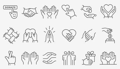 Fototapeta Charity line icon set. Collection of donate, volunteer, help, solidarity and more. Editable stroke. obraz