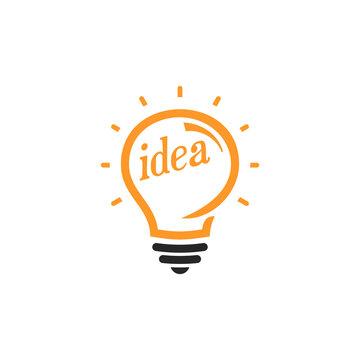 New idea symbol, flat bright cartoon bulb. Idea icon, circle logo, Stylized sign of vector lightbulbs, white and orange color logotype