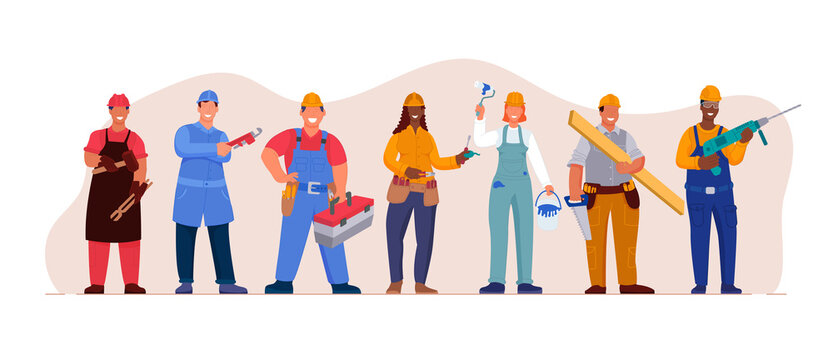 Professional technician worker employee team together