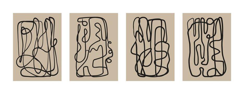 Abstract boho art print set. Modern mid century posters for wall decor, contemporary wallpaper design. Vector illustration