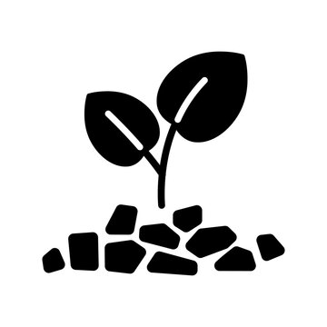 Mulch black glyph icon. Layer of material applied to the surface of soil. Improving fertility and health of soil to grow plants. Silhouette symbol on white space. Vector isolated illustration