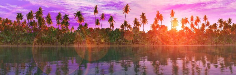 Panorama of the coast with palm trees at sunset, palm trees in a row above the water, 3D rendering Wall mural