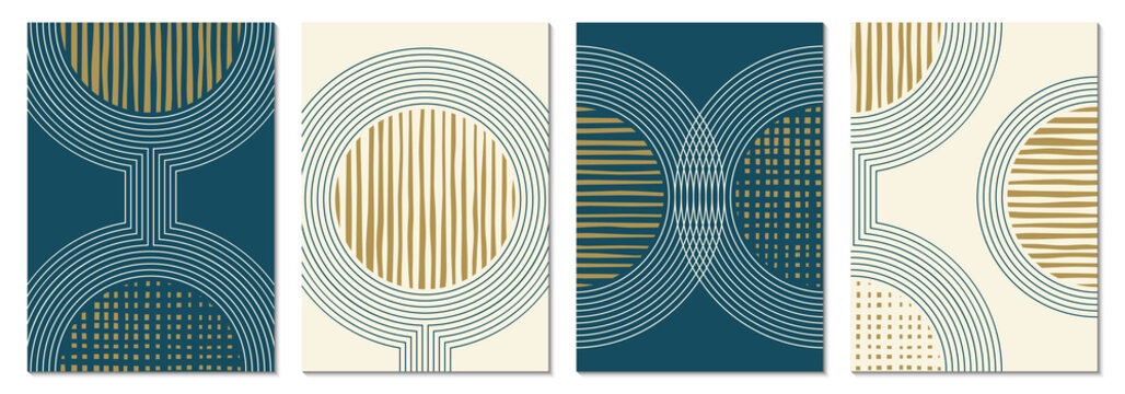 Abstract art background set with geometric shapes. Minimal design with circles and lines. Contemporary poster, modern graphic, trendy cover, print or wallpaper design template.