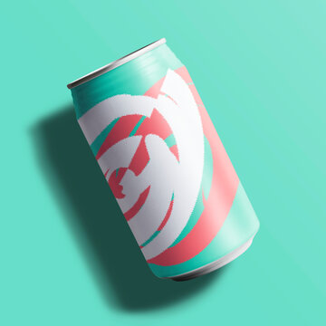Colorful soda can in flat lay with design space