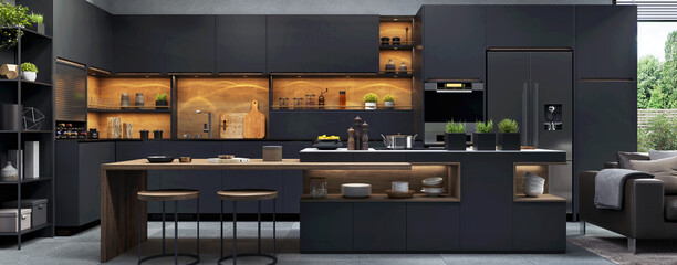 Beautiful open plan matte black kitchen and  kitchen island with dining area