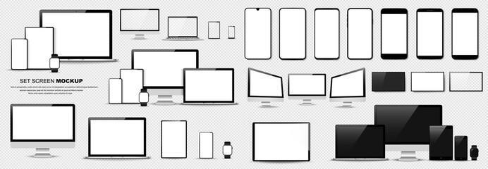 Obraz Great minimalistic device set. Mockups smartphone, tablet, laptop, pc and TV. Vector collection - fototapety do salonu