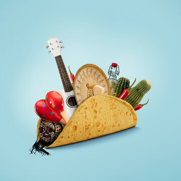 Fresh and tasty taco filled with Sombrero, Ukulele, Maracas, cactus, drink on blue background.