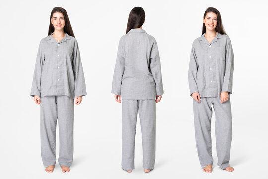 Woman in gray pajamas comfy sleepwear apparel full body