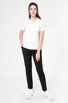 White polo shirt women's casual business wear full body