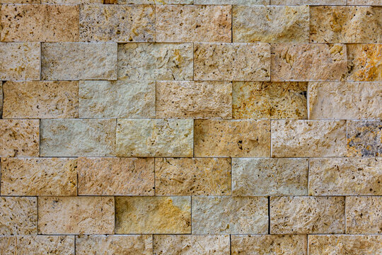 Texture of the limestone bricks for background. Natural pattern