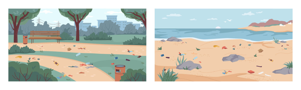 Dirt and debris on beach and in park, rubbish on ground and sand, vector flat cartoon illustration. Garbage in nature, polluted environment. Litter on seashore, river bank, at city parkland