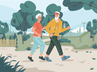 Running senior man and woman in city park with pathway, green trees, cityscape on background. Vector jogging old lady and gentleman cartoon style characters, middle aged pensioners sportif joggers