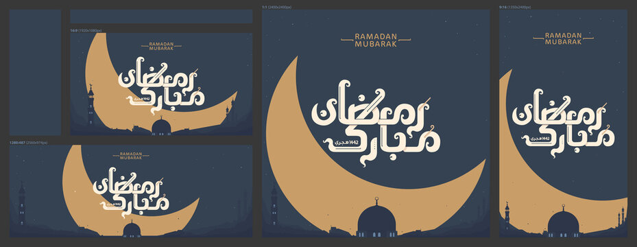 Social media set of Ramadan Mubarak greeting  in Arabic lettering (English: Blessed Ramadan year 1442 Hijri) with city skyline, hilal, mosque's dome and towers.