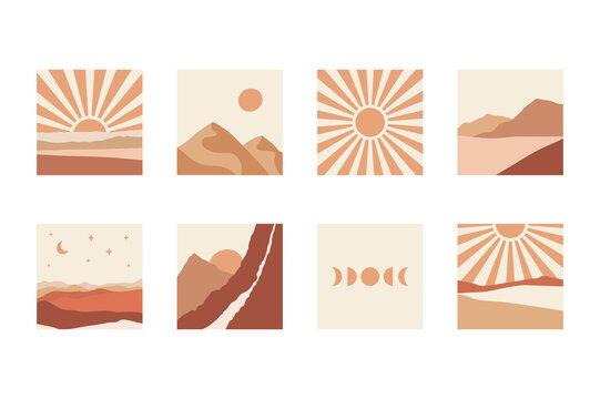 Abstract boho landscapes collection. Mountains, sun, moon, sunset, desert, hills minimalist design.