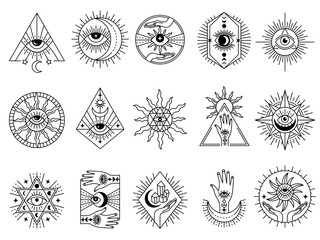 Obraz Mystical symbols. Occult emblems meditation magic esoterism and alchemy icons mystery stones tarot cards and moons recent vector stylized pictures set - fototapety do salonu