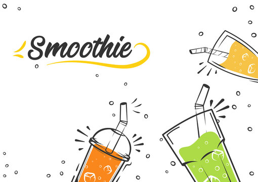Smoothie background. Cold drinks, summer shakes and cocktails. Superfoods and health or detox diet food concept in sketch style.