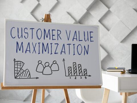 Whiteboard with CVM customer value maximization info.