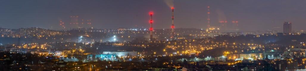 Fototapeta Nocna Panorama Będzina i Zagłębia.