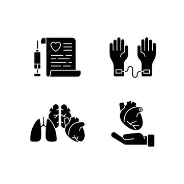 Organ Donation glyph icon. Surgical medicine. Thin line customizable illustration. Contour symbol. Vector isolated outline drawing.