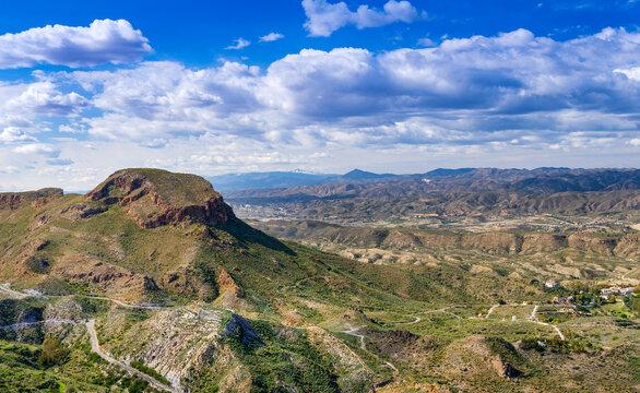 View from Cabrera towards, Cortijo Grande, near Mojacar, Almeria, Andalusia, Spain