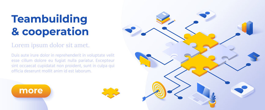 Teambuilding and Cooperation - Isometric Design in Trendy Colors Isometrical Icons on Blue Background. Banner Layout Template for Website Development