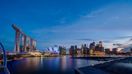 HDR image of Singapore Marina Bay Area at magic hour.