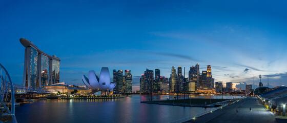 Ultra wide image of Singapore Marina Bay Area at magic hour.