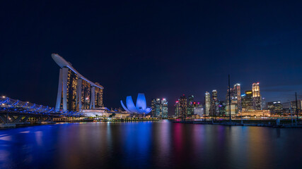 Night view at Singapore Marina Bay Area.