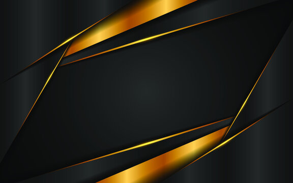 Elegant abstract gray and gold triangles overlapping multiple layers with golden lines on a black background. Concept of modern technology innovation