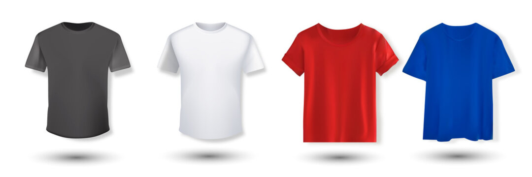 Shirt mockup set. T-shirt template. Black, red, white, blue version, front design.